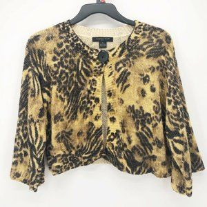 August Silk Womens  Brown Animal Print Sweater M